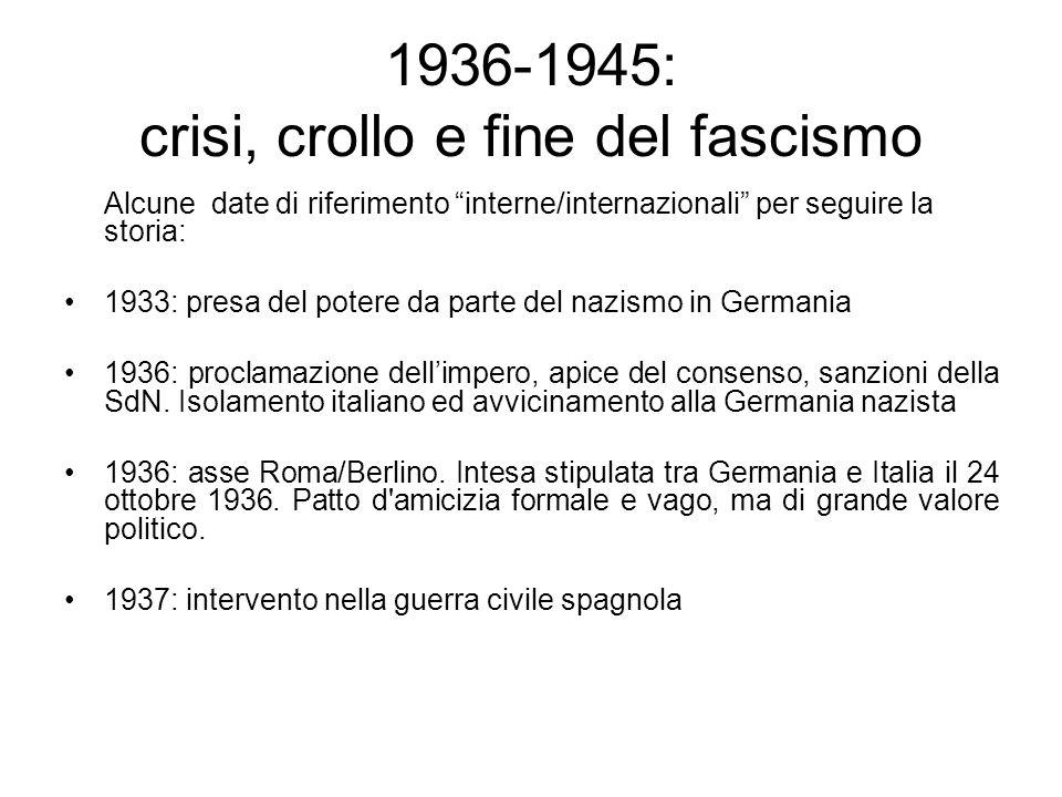 1936-1945: crisi, crollo e fine del fascismo Alcune date di riferimento interne/internazionali per seguire la storia: 1933: presa del potere da parte