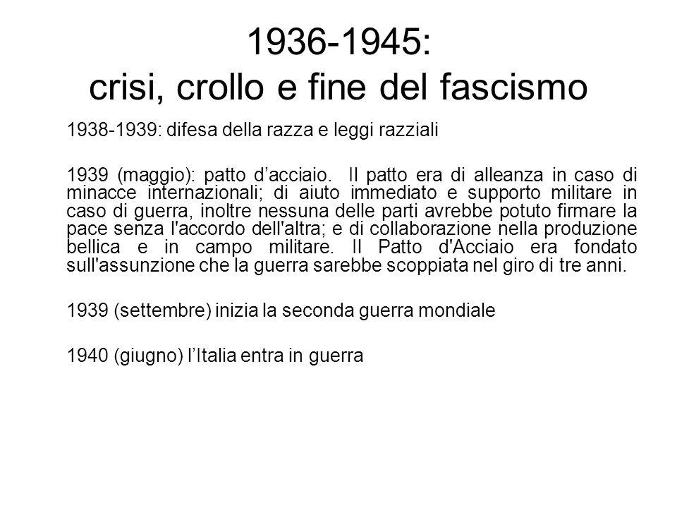 1936-1945: crisi, crollo e fine del fascismo 1938-1939: difesa della razza e leggi razziali 1939 (maggio): patto dacciaio. Il patto era di alleanza in