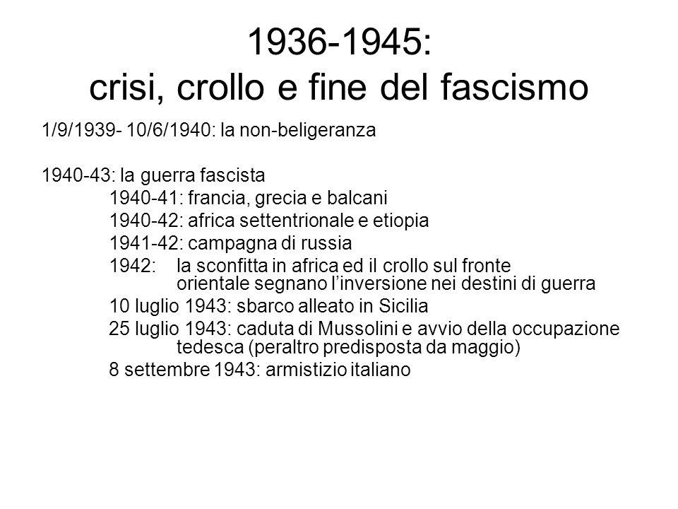 1936-1945: crisi, crollo e fine del fascismo 1/9/1939- 10/6/1940: la non-beligeranza 1940-43: la guerra fascista 1940-41: francia, grecia e balcani 19