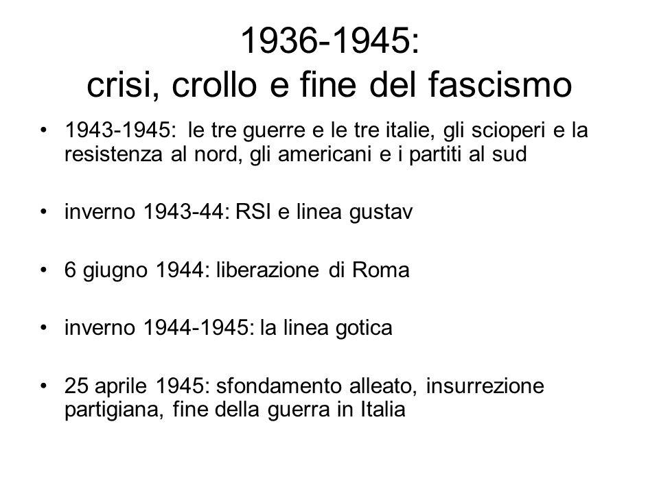1936-1945: crisi, crollo e fine del fascismo 1943-1945: le tre guerre e le tre italie, gli scioperi e la resistenza al nord, gli americani e i partiti