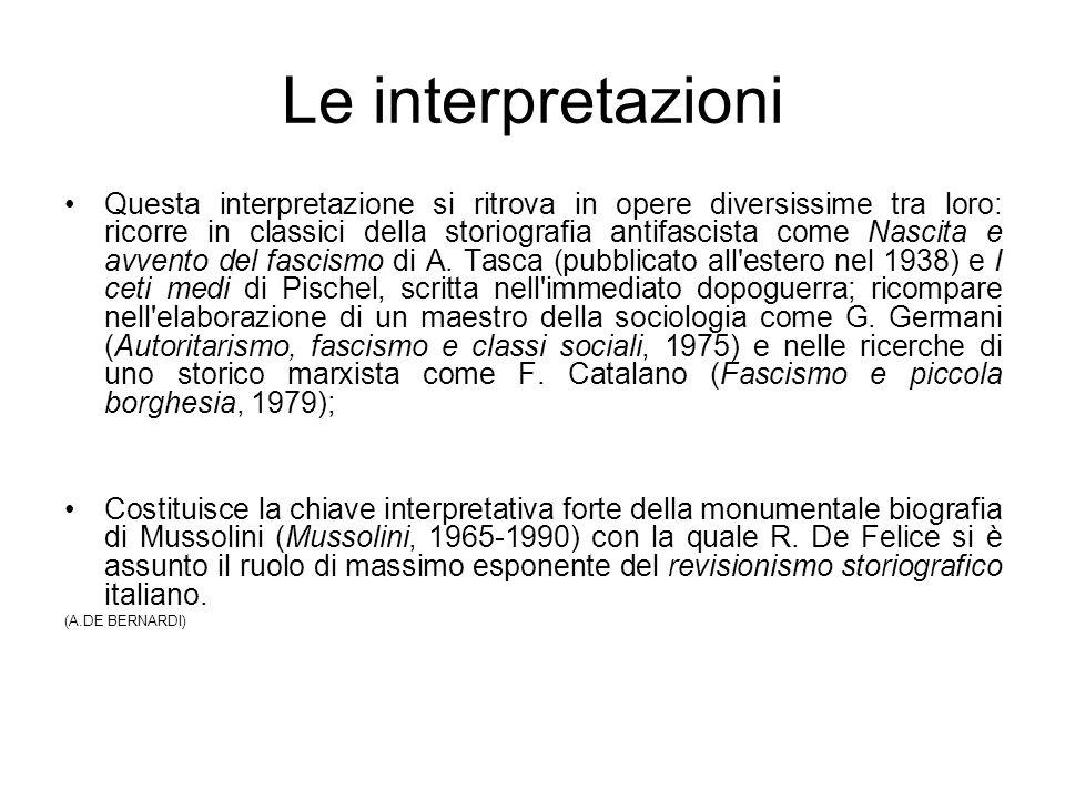 Le interpretazioni Questa interpretazione si ritrova in opere diversissime tra loro: ricorre in classici della storiografia antifascista come Nascita