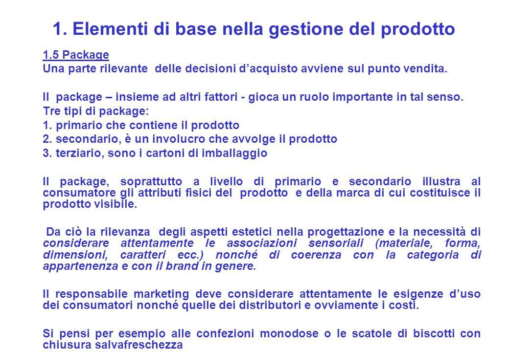 1. Elementi di base nella gestione del prodotto 1.5 Package Una parte rilevante delle decisioni dacquisto avviene sul punto vendita. Il package – insi
