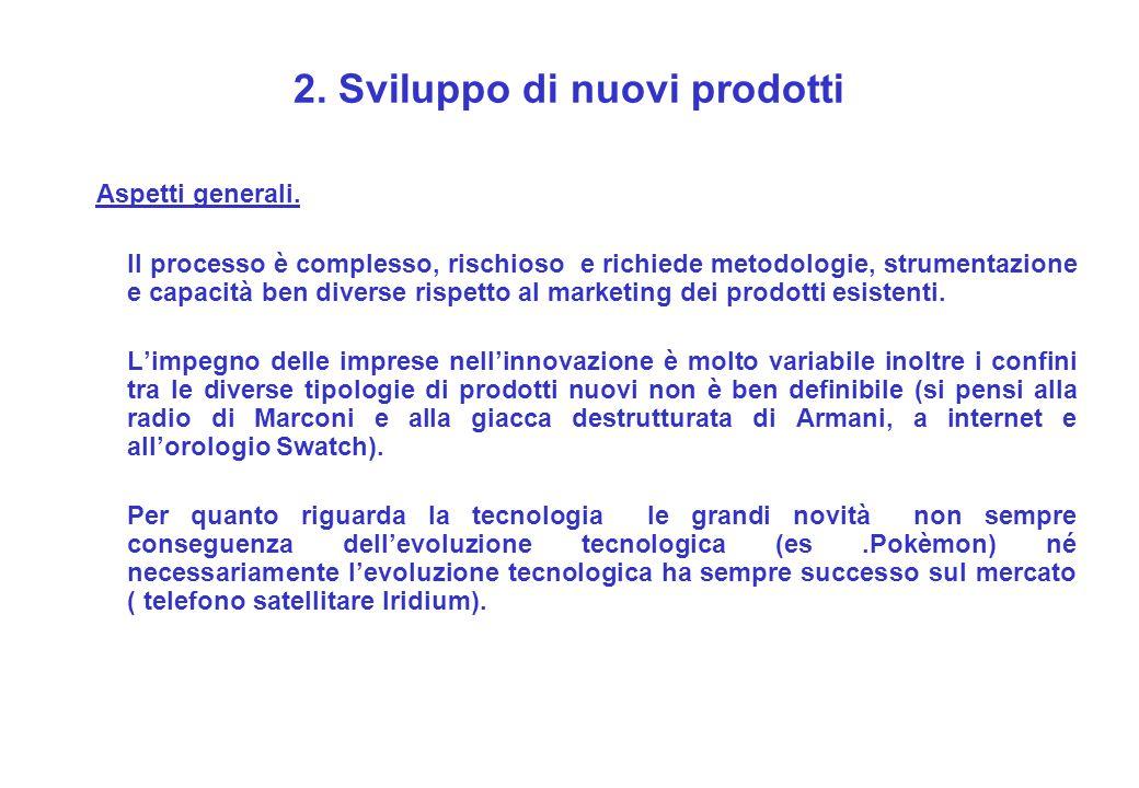 2. Sviluppo di nuovi prodotti Aspetti generali. Il processo è complesso, rischioso e richiede metodologie, strumentazione e capacità ben diverse rispe