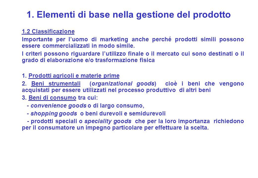 1. Elementi di base nella gestione del prodotto 1.2 Classificazione Importante per luomo di marketing anche perché prodotti simili possono essere comm