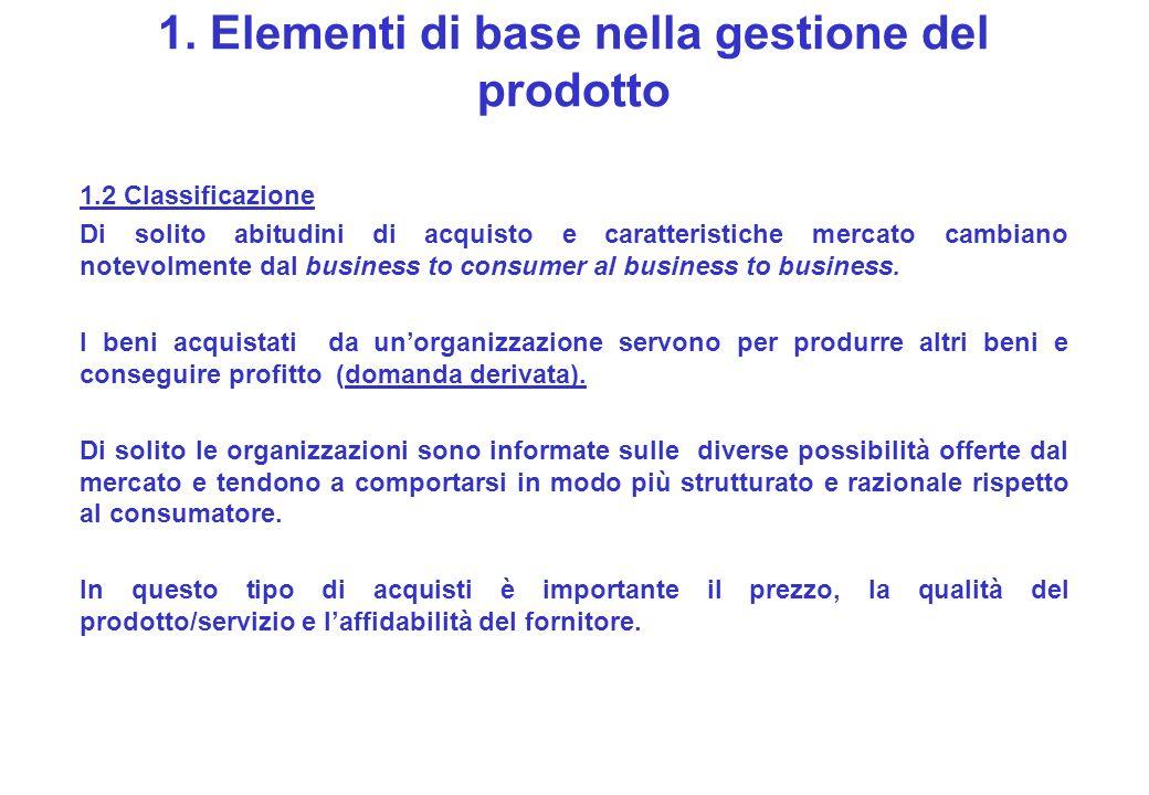 1. Elementi di base nella gestione del prodotto 1.2 Classificazione Di solito abitudini di acquisto e caratteristiche mercato cambiano notevolmente da