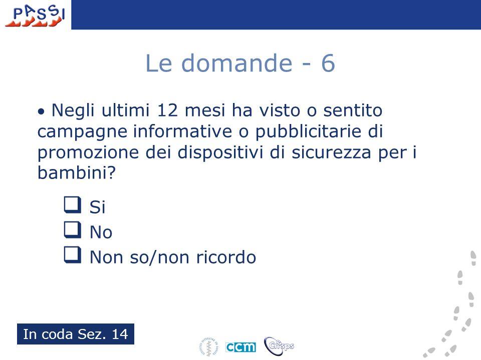 Le domande - 6 Negli ultimi 12 mesi ha visto o sentito campagne informative o pubblicitarie di promozione dei dispositivi di sicurezza per i bambini.