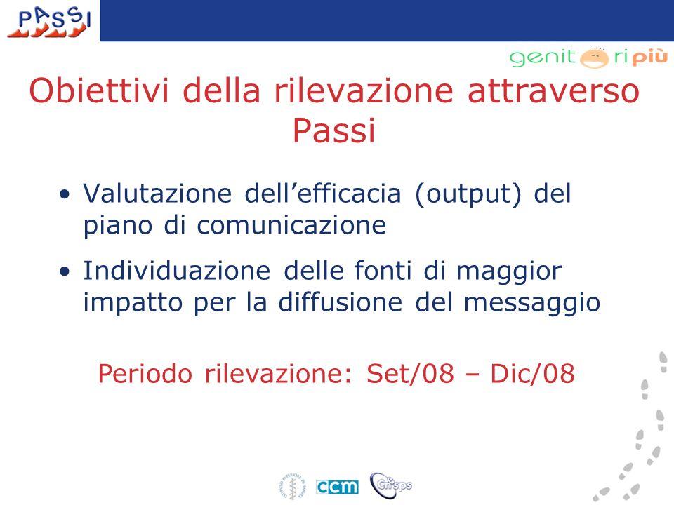Obiettivi della rilevazione attraverso Passi Valutazione dellefficacia (output) del piano di comunicazione Individuazione delle fonti di maggior impatto per la diffusione del messaggio Periodo rilevazione: Set/08 – Dic/08