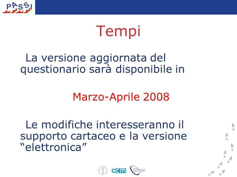 Tempi La versione aggiornata del questionario sarà disponibile in Marzo-Aprile 2008 Le modifiche interesseranno il supporto cartaceo e la versione elettronica