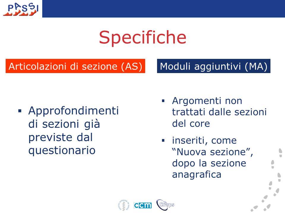 Specifiche Approfondimenti di sezioni già previste dal questionario Argomenti non trattati dalle sezioni del core inseriti, come Nuova sezione, dopo la sezione anagrafica Moduli aggiuntivi (MA)Articolazioni di sezione (AS)