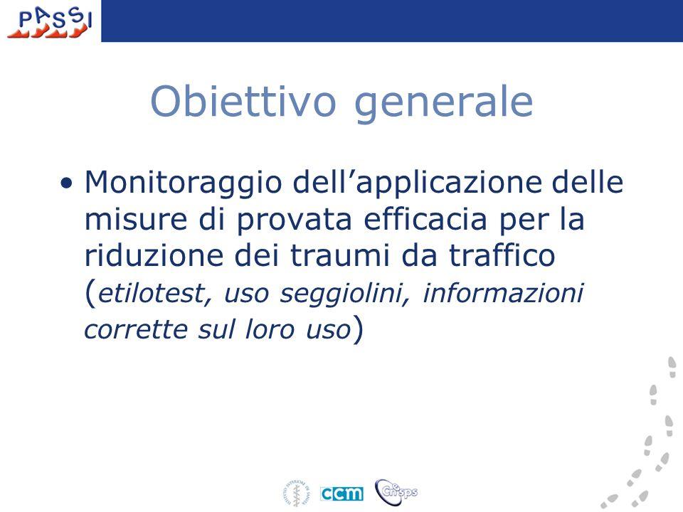 Obiettivo generale Monitoraggio dellapplicazione delle misure di provata efficacia per la riduzione dei traumi da traffico ( etilotest, uso seggiolini, informazioni corrette sul loro uso )