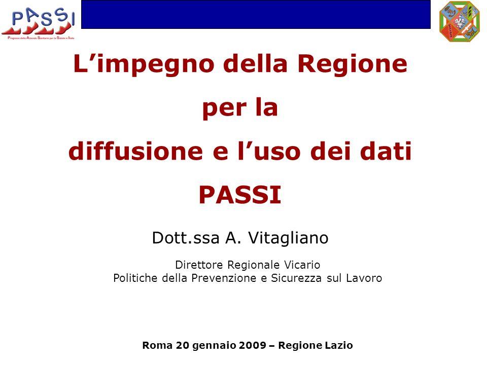 Limpegno della Regione per la diffusione e luso dei dati PASSI Dott.ssa A.