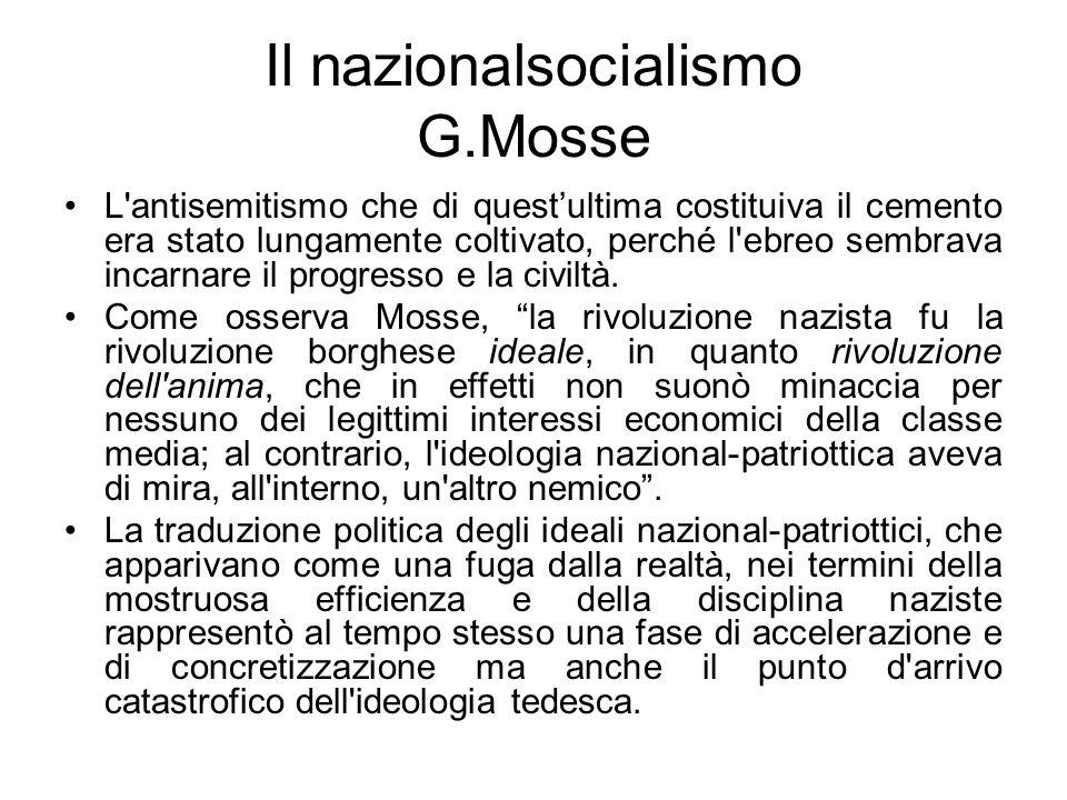 Il nazionalsocialismo G.Mosse L antisemitismo che di questultima costituiva il cemento era stato lungamente coltivato, perché l ebreo sembrava incarnare il progresso e la civiltà.