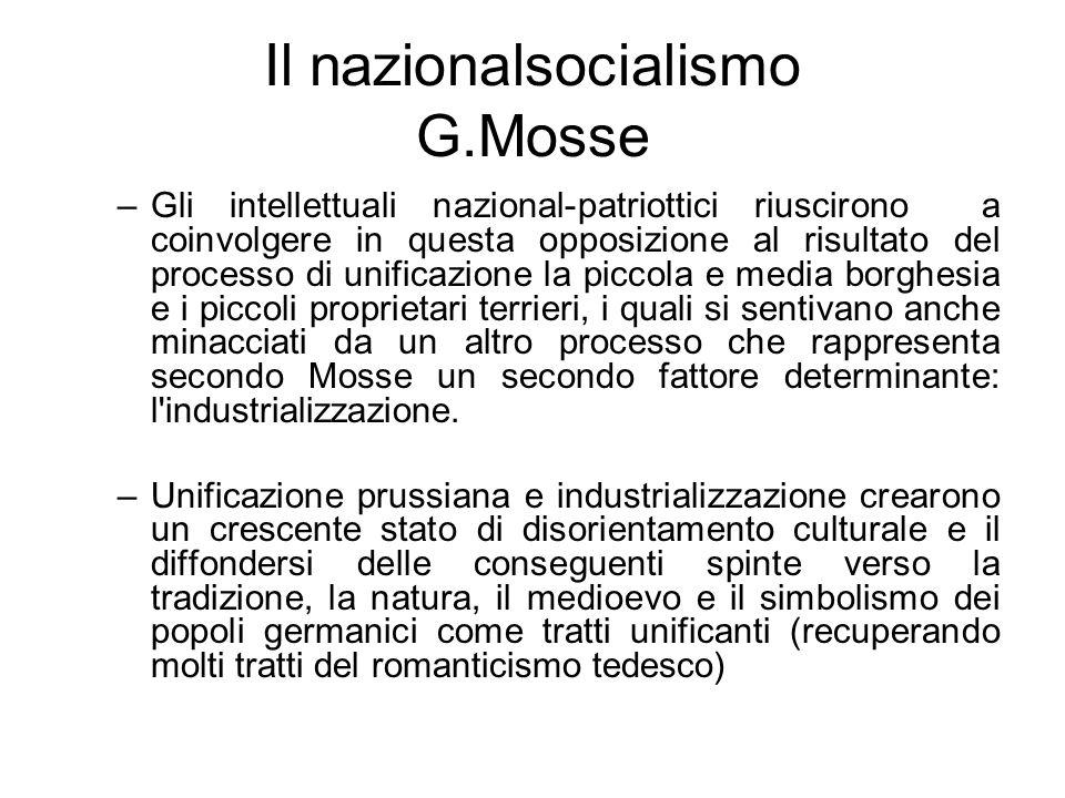 Il nazionalsocialismo G.Mosse –Gli intellettuali nazional-patriottici riuscirono a coinvolgere in questa opposizione al risultato del processo di unif