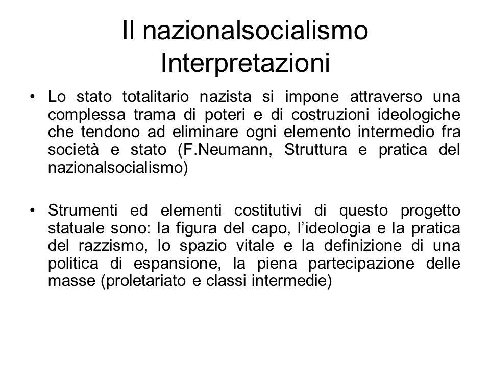 Il nazionalsocialismo Interpretazioni Lo stato totalitario nazista si impone attraverso una complessa trama di poteri e di costruzioni ideologiche che