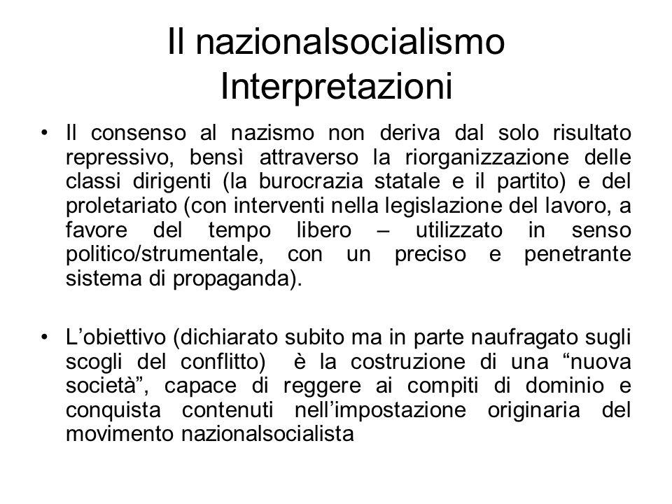Il nazionalsocialismo Interpretazioni Il consenso al nazismo non deriva dal solo risultato repressivo, bensì attraverso la riorganizzazione delle clas