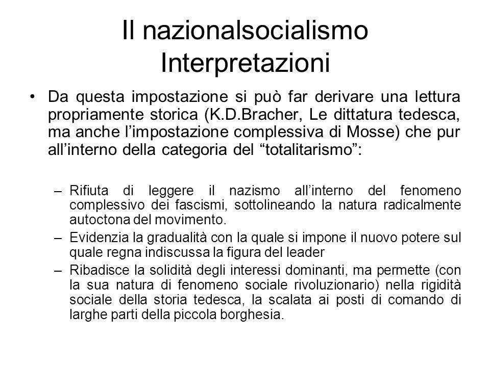 Il nazionalsocialismo Interpretazioni Da questa impostazione si può far derivare una lettura propriamente storica (K.D.Bracher, Le dittatura tedesca,