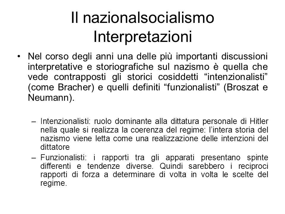 Il nazionalsocialismo Interpretazioni Nel corso degli anni una delle più importanti discussioni interpretative e storiografiche sul nazismo è quella che vede contrapposti gli storici cosiddetti intenzionalisti (come Bracher) e quelli definiti funzionalisti (Broszat e Neumann).