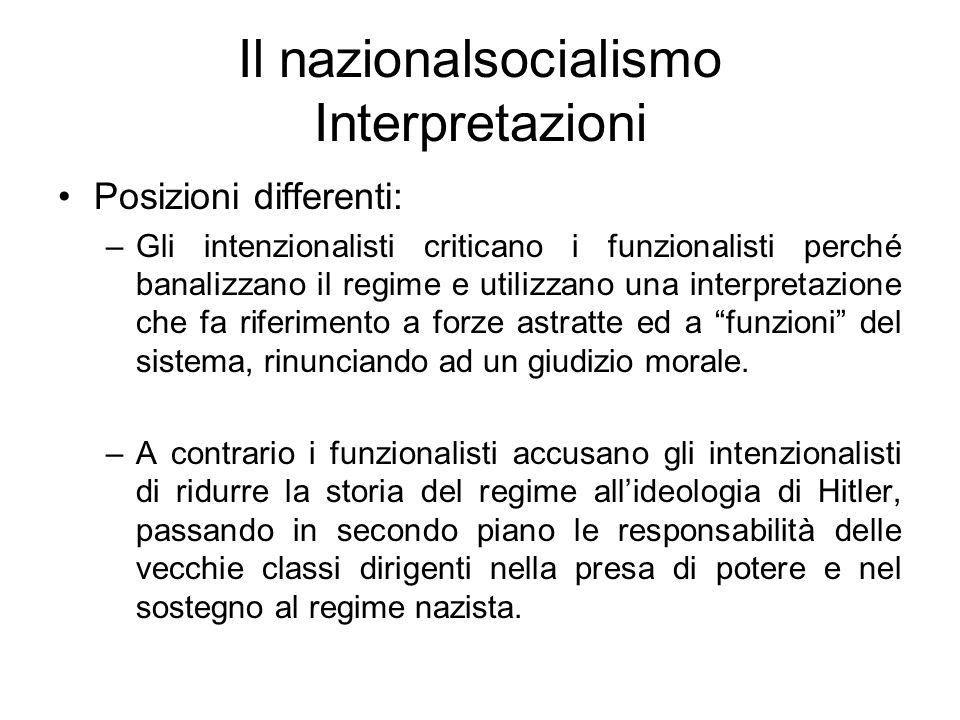 Il nazionalsocialismo Interpretazioni Posizioni differenti: –Gli intenzionalisti criticano i funzionalisti perché banalizzano il regime e utilizzano u