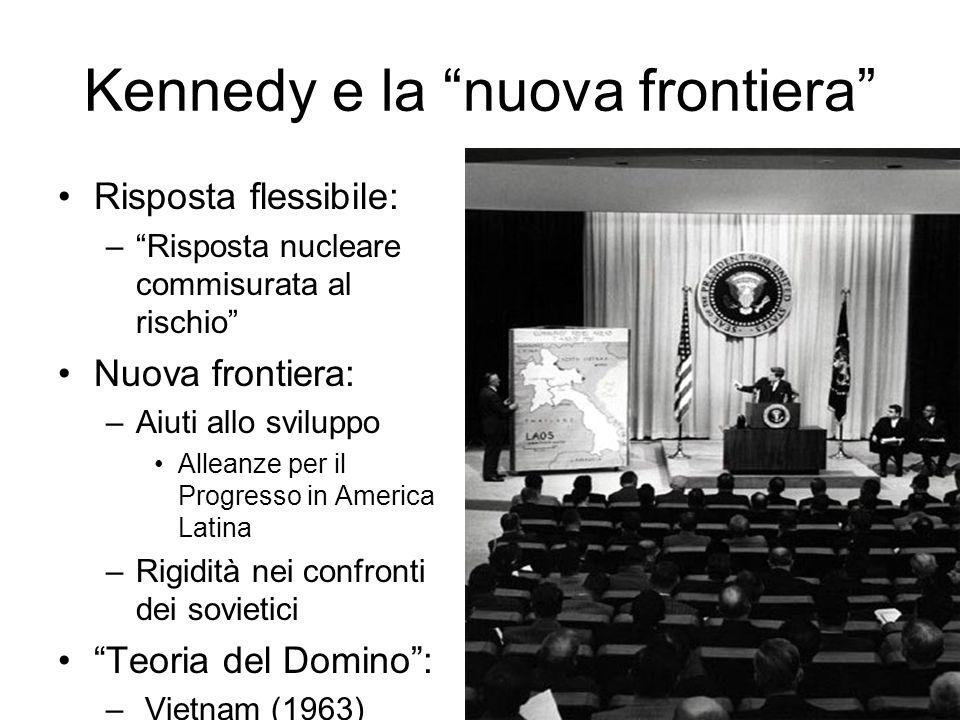 Kennedy e la nuova frontiera Risposta flessibile: –Risposta nucleare commisurata al rischio Nuova frontiera: –Aiuti allo sviluppo Alleanze per il Progresso in America Latina –Rigidità nei confronti dei sovietici Teoria del Domino: – Vietnam (1963)