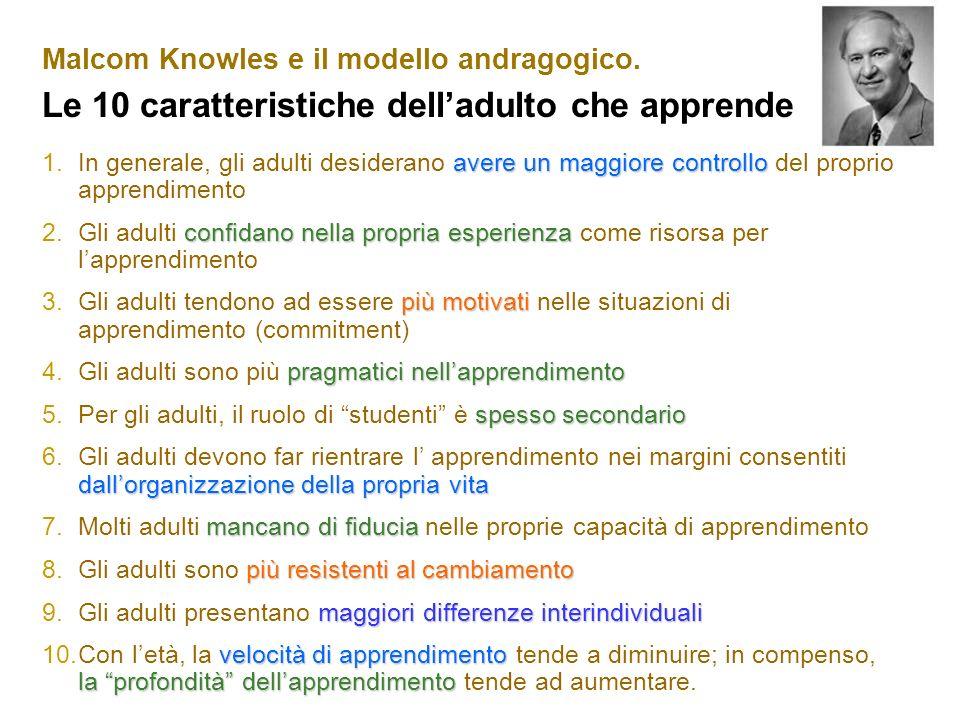 Malcom Knowles e il modello andragogico. Le 10 caratteristiche delladulto che apprende avere un maggiore controllo 1.In generale, gli adulti desideran