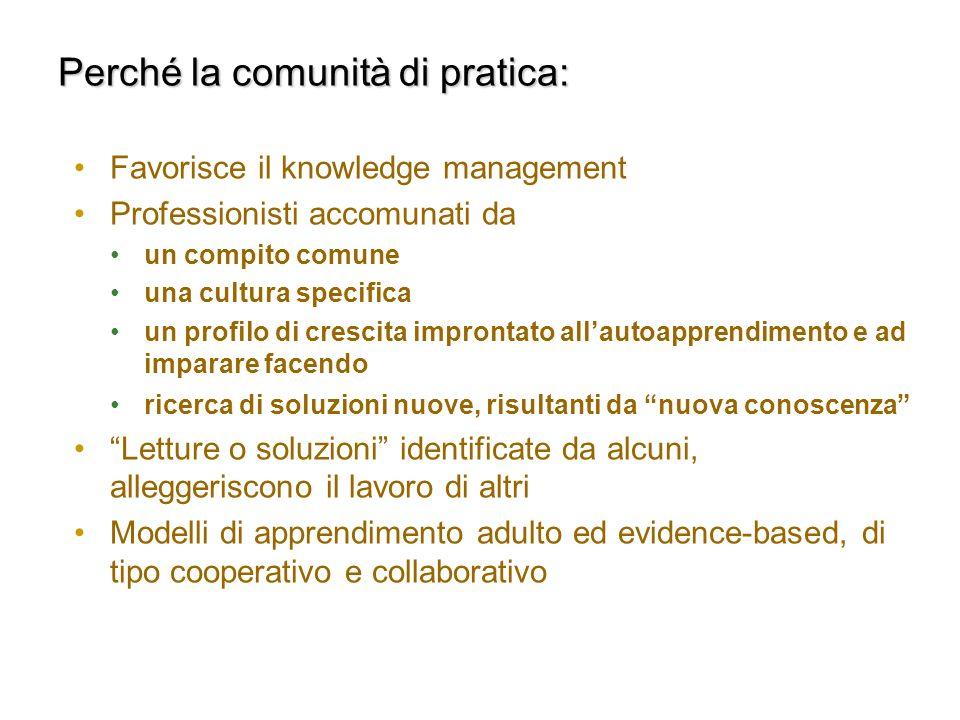 Perché la comunità di pratica: Favorisce il knowledge management Professionisti accomunati da un compito comune una cultura specifica un profilo di cr