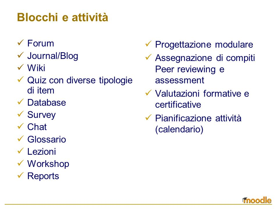 Blocchi e attività Forum Journal/Blog Wiki Quiz con diverse tipologie di item Database Survey Chat Glossario Lezioni Workshop Reports Progettazione mo
