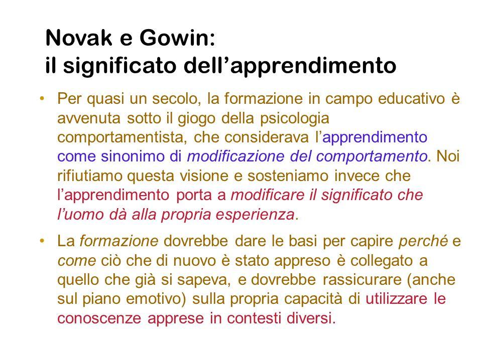 Novak e Gowin: il significato dellapprendimento Per quasi un secolo, la formazione in campo educativo è avvenuta sotto il giogo della psicologia compo
