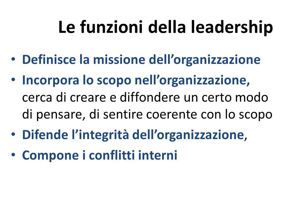 Le funzioni della leadership Definisce la missione dellorganizzazione Incorpora lo scopo nellorganizzazione, cerca di creare e diffondere un certo mod