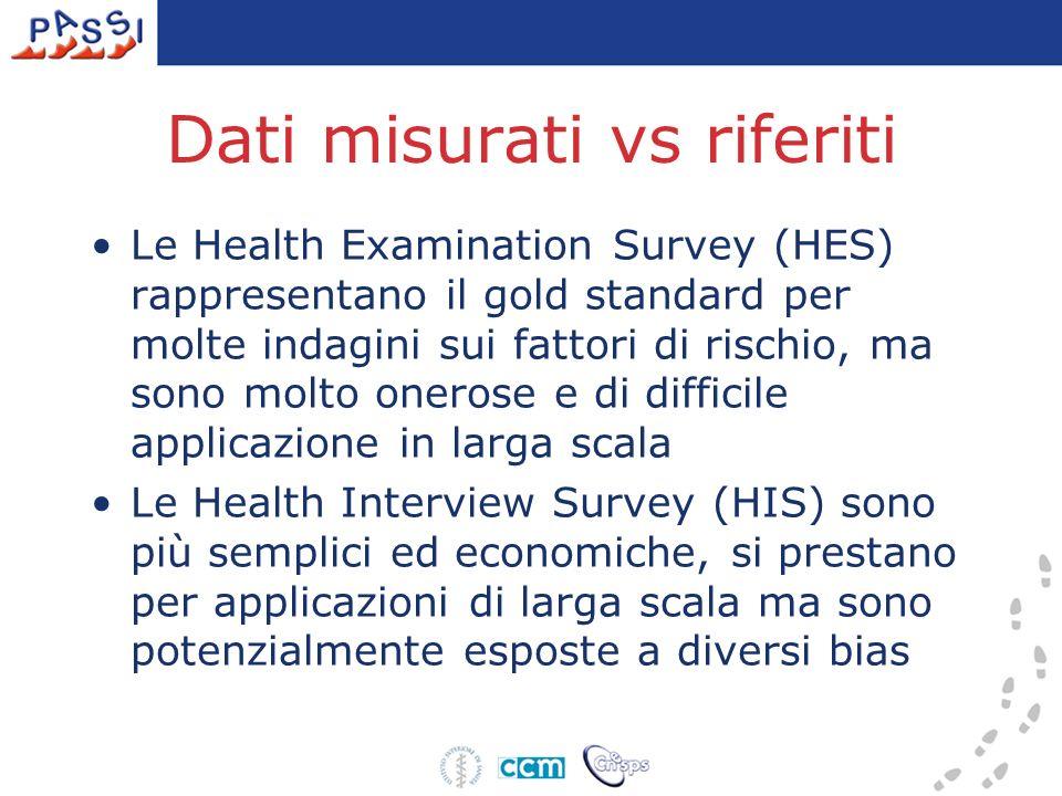 Dati misurati vs riferiti Le Health Examination Survey (HES) rappresentano il gold standard per molte indagini sui fattori di rischio, ma sono molto o