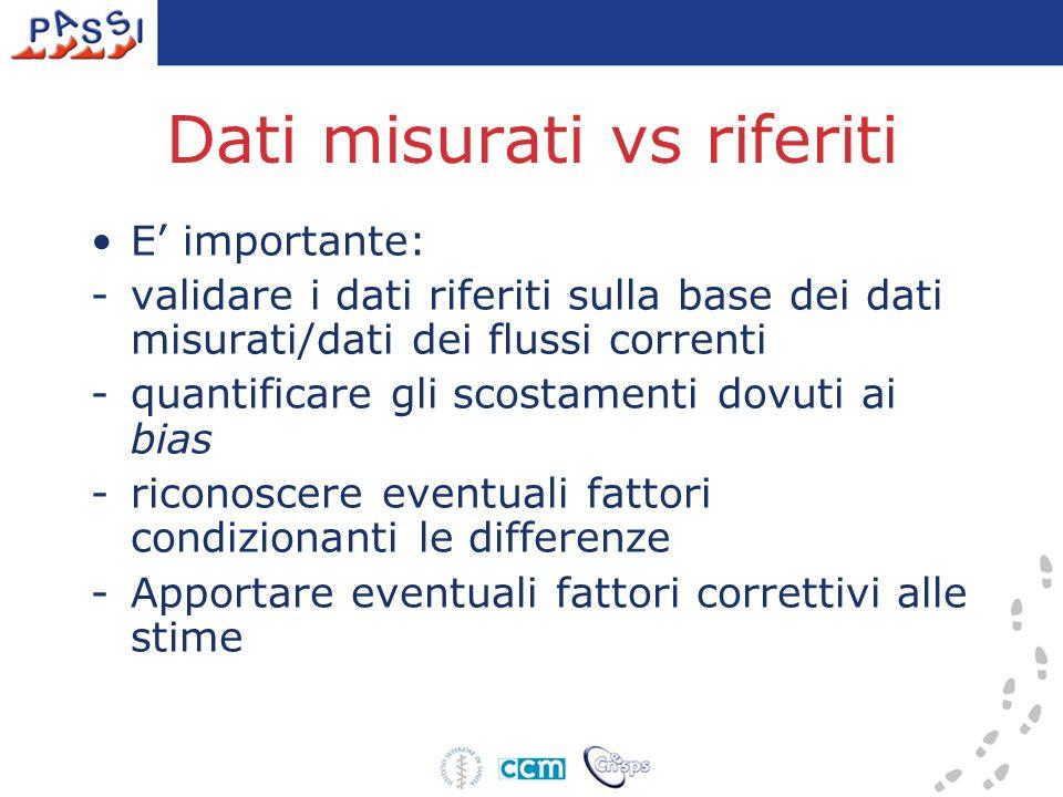Dati misurati vs riferiti E importante: -validare i dati riferiti sulla base dei dati misurati/dati dei flussi correnti -quantificare gli scostamenti dovuti ai bias -riconoscere eventuali fattori condizionanti le differenze -Apportare eventuali fattori correttivi alle stime