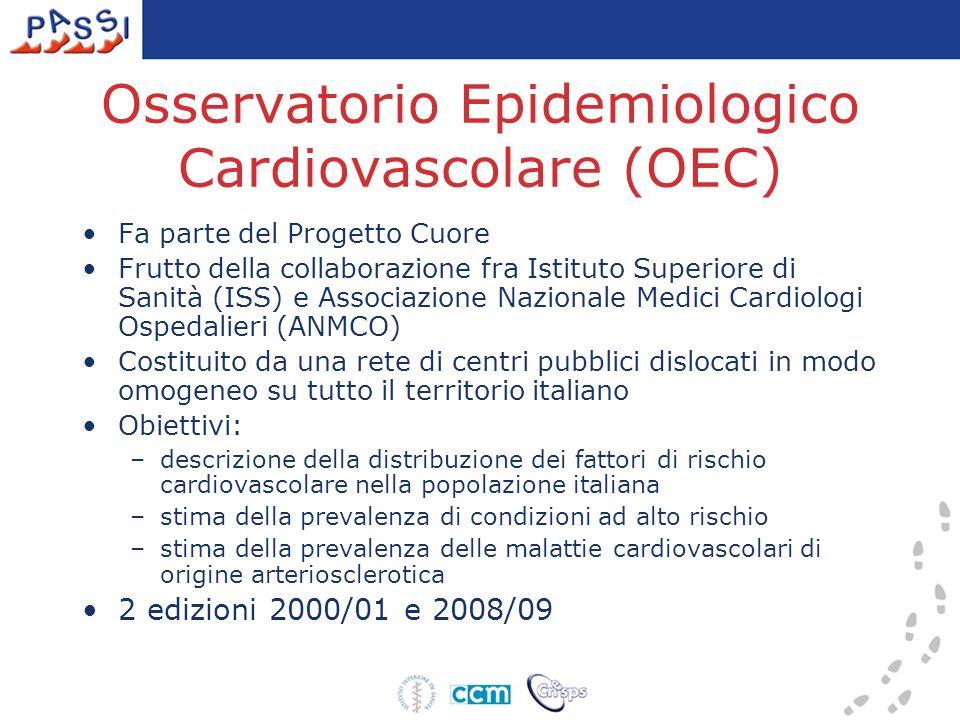 Osservatorio Epidemiologico Cardiovascolare (OEC) Fa parte del Progetto Cuore Frutto della collaborazione fra Istituto Superiore di Sanità (ISS) e Ass