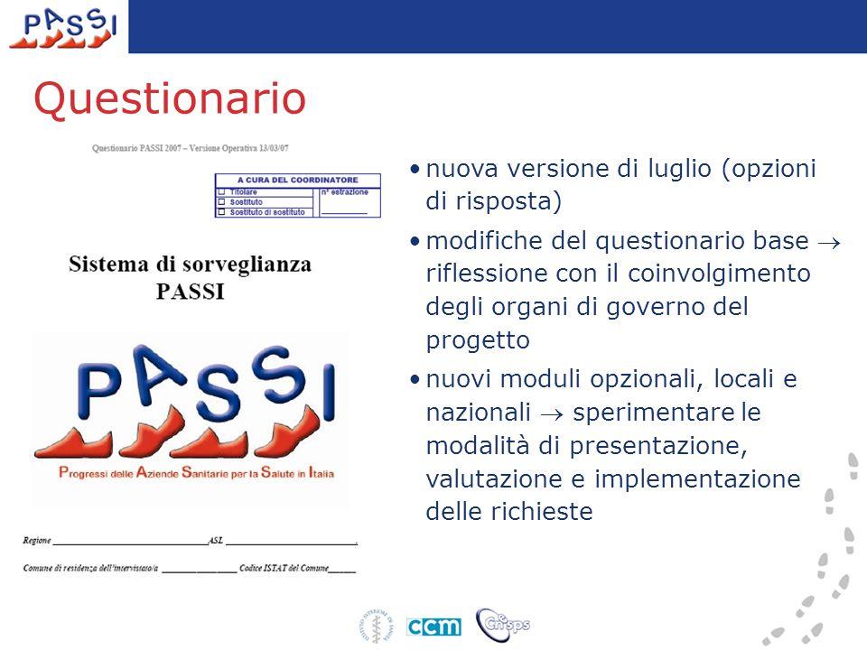 Questionario nuova versione di luglio (opzioni di risposta) modifiche del questionario base riflessione con il coinvolgimento degli organi di governo