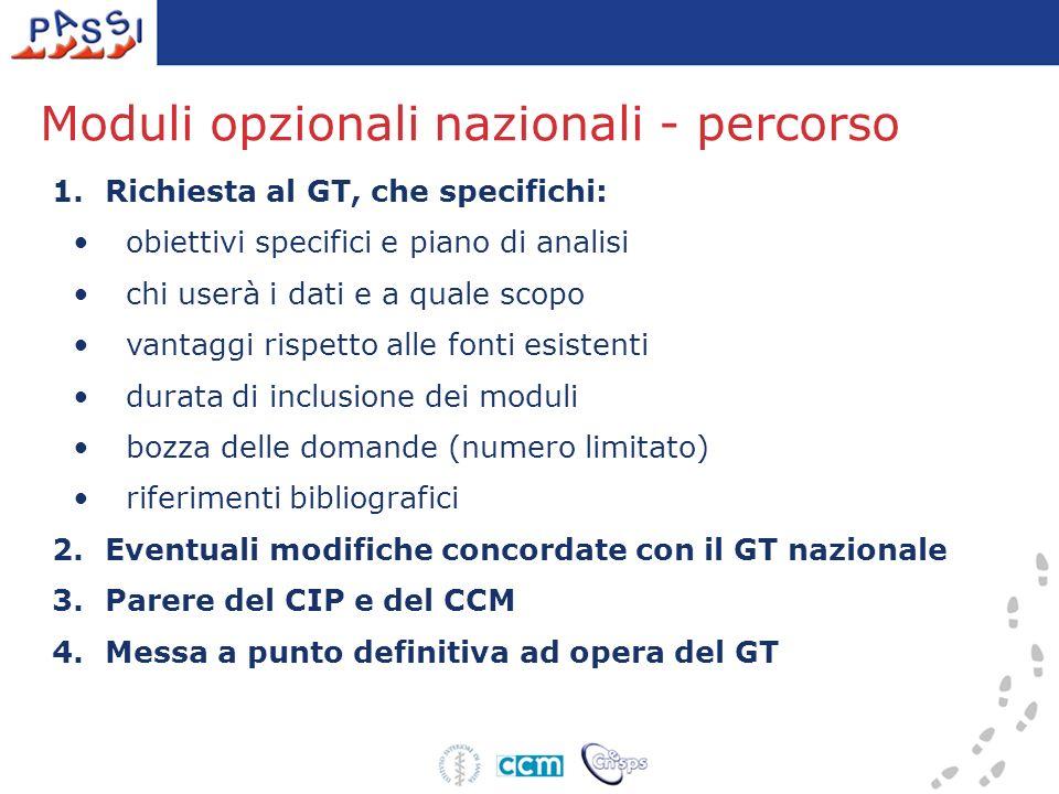 Moduli opzionali nazionali - percorso 1.Richiesta al GT, che specifichi: obiettivi specifici e piano di analisi chi userà i dati e a quale scopo vanta