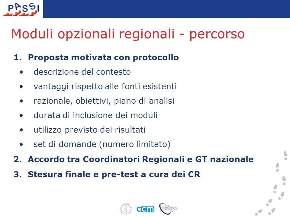 Moduli opzionali regionali - percorso 1.Proposta motivata con protocollo descrizione del contesto vantaggi rispetto alle fonti esistenti razionale, ob