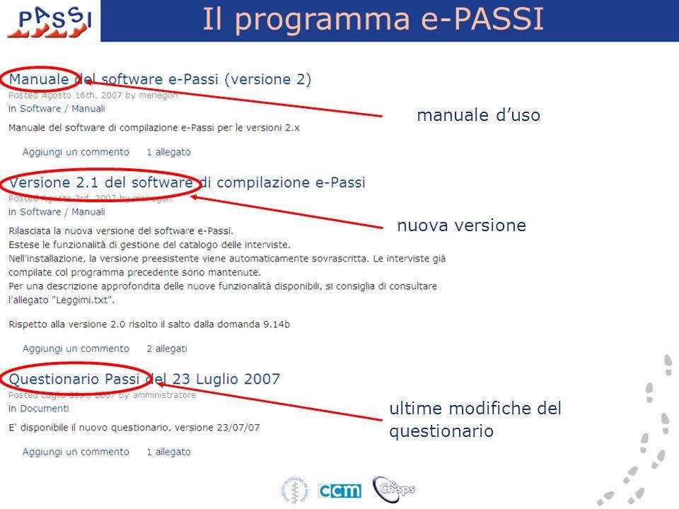 Il programma e-PASSI ultime modifiche del questionario manuale duso nuova versione
