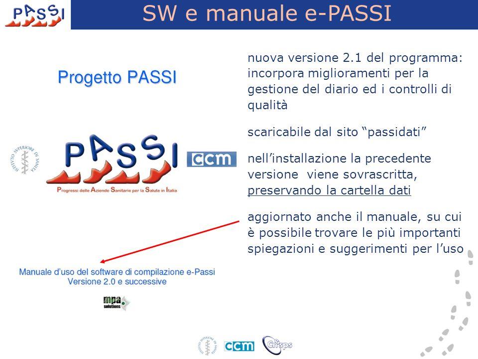 SW e manuale e-PASSI nuova versione 2.1 del programma: incorpora miglioramenti per la gestione del diario ed i controlli di qualità scaricabile dal si