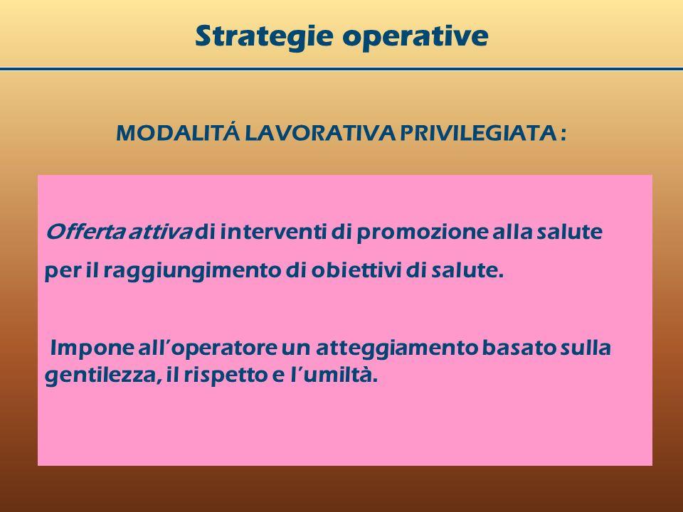 MODALITÁ LAVORATIVA PRIVILEGIATA : Strategie operative Offerta attiva di interventi di promozione alla salute per il raggiungimento di obiettivi di salute.