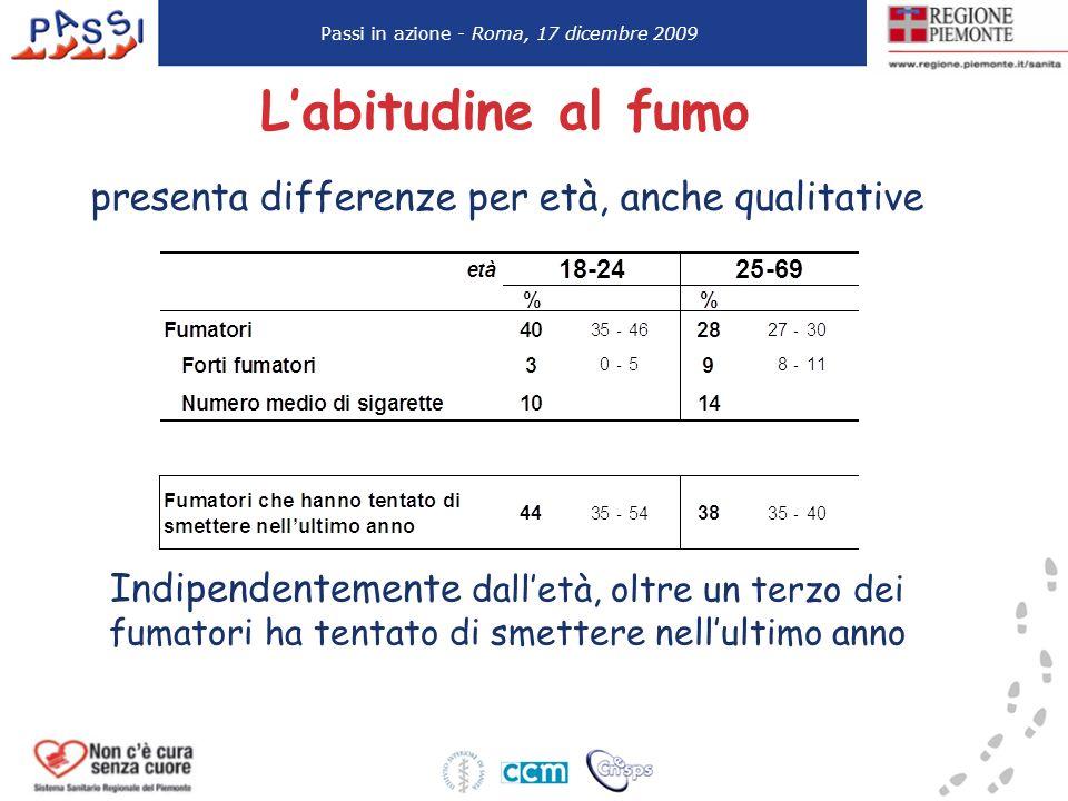 Labitudine al fumo presenta differenze per età, anche qualitative Passi in azione - Roma, 17 dicembre 2009 Indipendentemente dalletà, oltre un terzo d