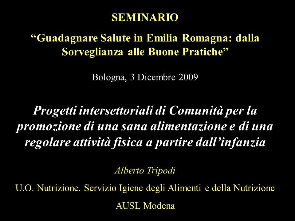 SEMINARIO Guadagnare Salute in Emilia Romagna: dalla Sorveglianza alle Buone Pratiche Bologna, 3 Dicembre 2009 Progetti intersettoriali di Comunità pe