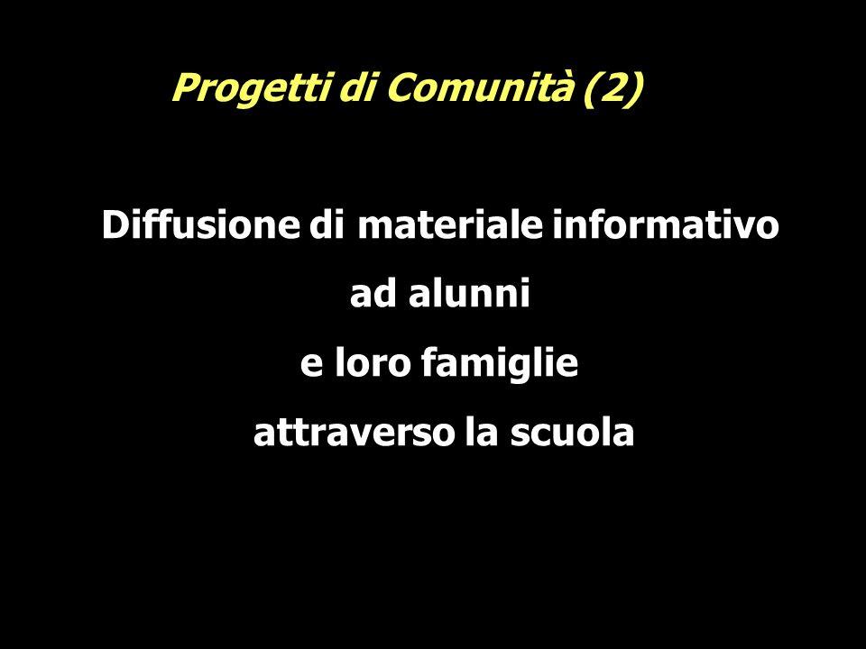 Diffusione di materiale informativo ad alunni e loro famiglie attraverso la scuola Progetti di Comunità (2)