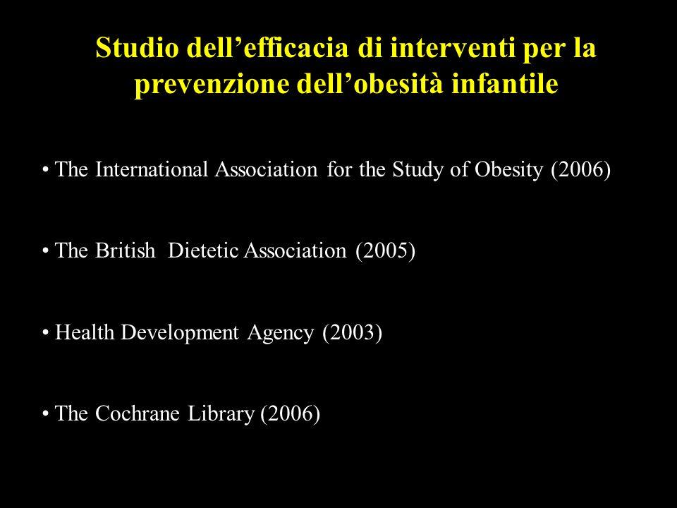 Studio dellefficacia di interventi per la prevenzione dellobesità infantile The International Association for the Study of Obesity (2006) The British