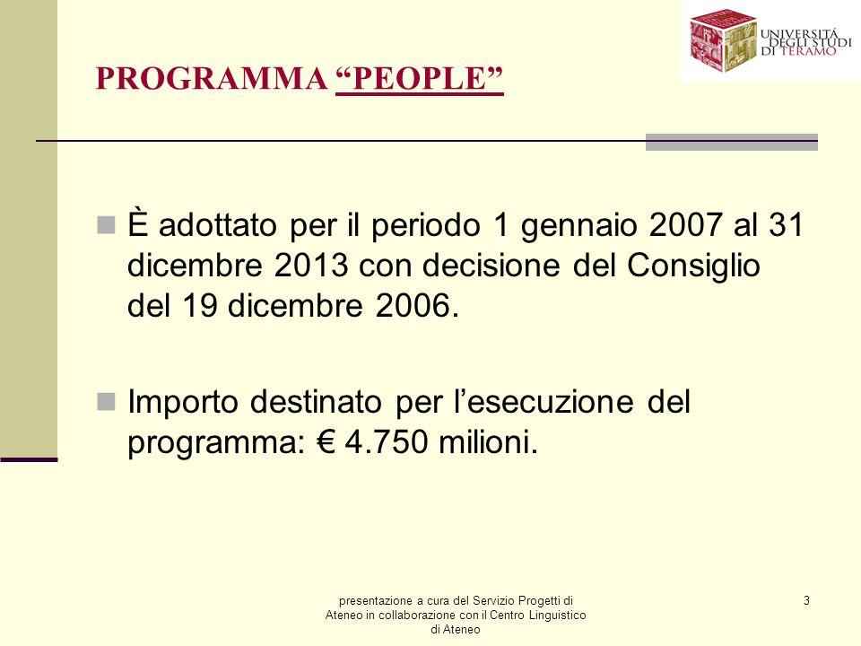 presentazione a cura del Servizio Progetti di Ateneo in collaborazione con il Centro Linguistico di Ateneo 3 PROGRAMMA PEOPLE È adottato per il periodo 1 gennaio 2007 al 31 dicembre 2013 con decisione del Consiglio del 19 dicembre 2006.