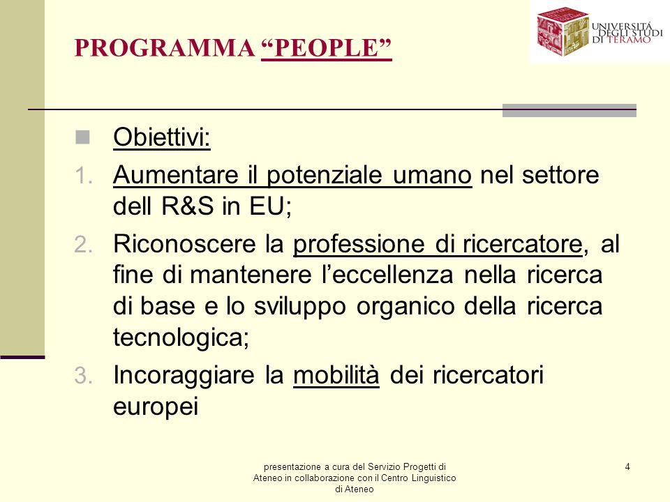 presentazione a cura del Servizio Progetti di Ateneo in collaborazione con il Centro Linguistico di Ateneo 4 PROGRAMMA PEOPLE Obiettivi: 1.