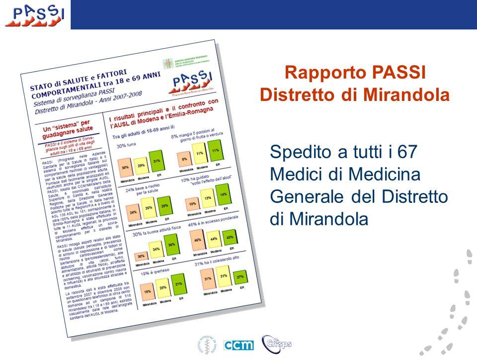 Rapporto PASSI Distretto di Mirandola Spedito a tutti i 67 Medici di Medicina Generale del Distretto di Mirandola