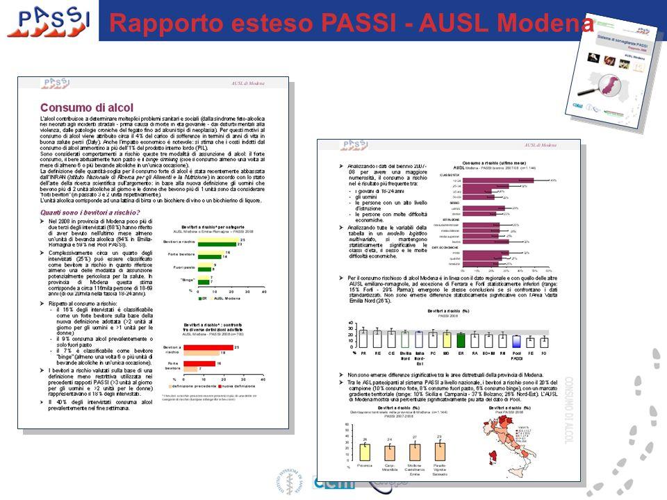 Rapporto sintetico PASSI AUSL Modena Spedito a tutti i 524 Medici di Medicina Generale dellAzienda USL di Modena
