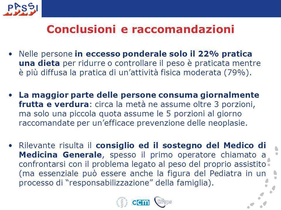 Conclusioni e raccomandazioni Nelle persone in eccesso ponderale solo il 22% pratica una dieta per ridurre o controllare il peso è praticata mentre è