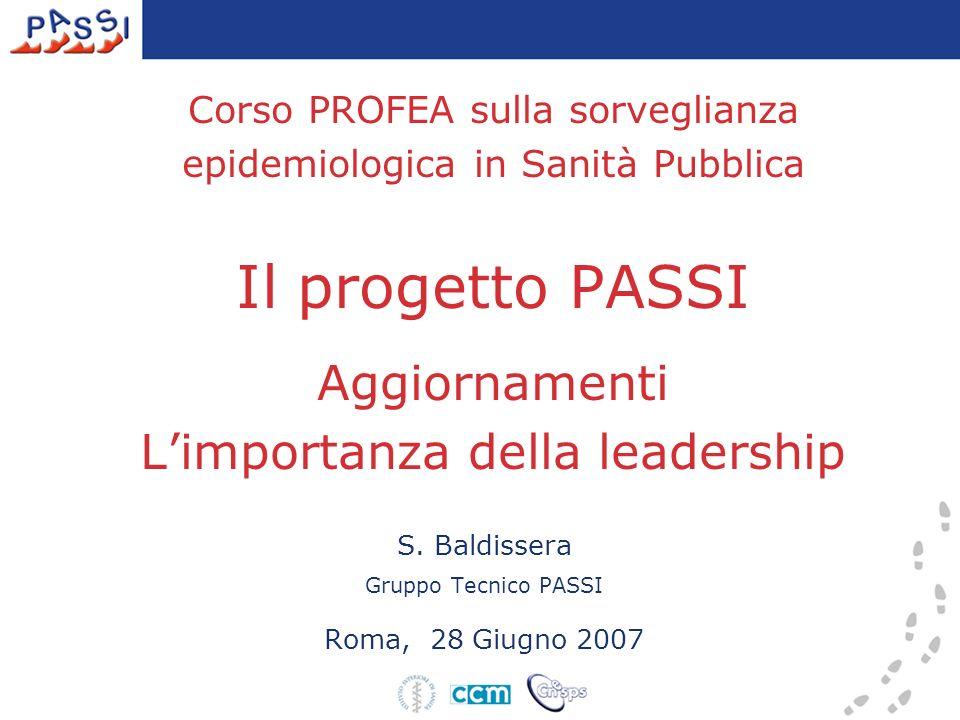 Corso PROFEA sulla sorveglianza epidemiologica in Sanità Pubblica Il progetto PASSI Aggiornamenti Limportanza della leadership S.