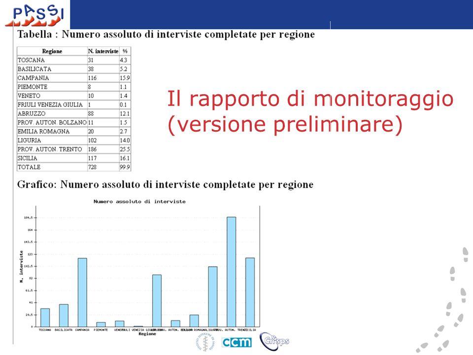 Il rapporto di monitoraggio (versione preliminare)