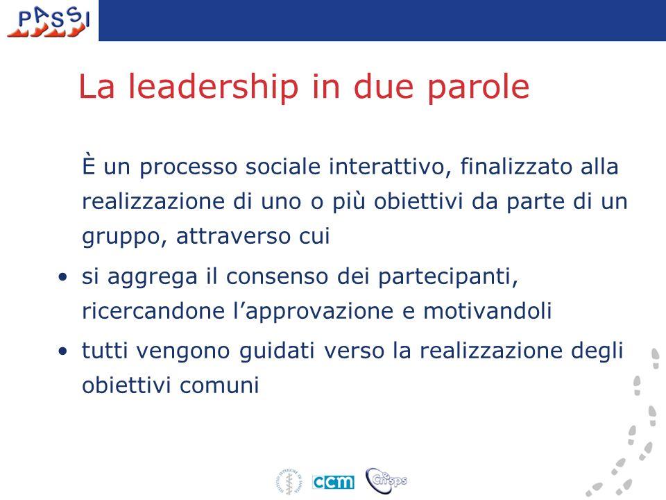 La leadership in due parole È un processo sociale interattivo, finalizzato alla realizzazione di uno o più obiettivi da parte di un gruppo, attraverso cui si aggrega il consenso dei partecipanti, ricercandone lapprovazione e motivandoli tutti vengono guidati verso la realizzazione degli obiettivi comuni