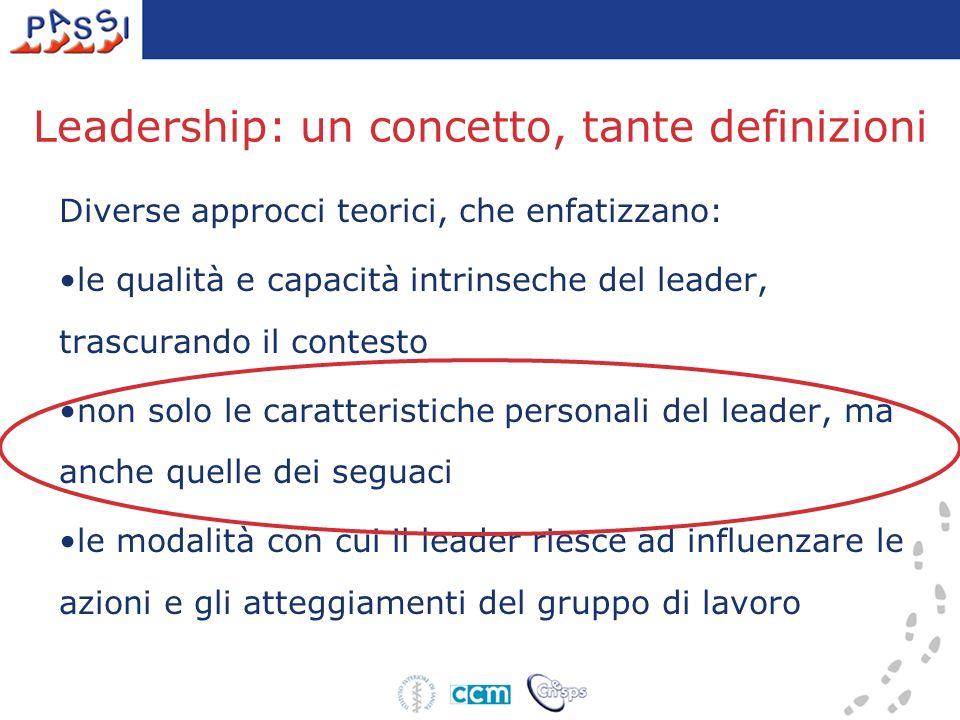 Leadership: un concetto, tante definizioni Diverse approcci teorici, che enfatizzano: le qualità e capacità intrinseche del leader, trascurando il contesto non solo le caratteristiche personali del leader, ma anche quelle dei seguaci le modalità con cui il leader riesce ad influenzare le azioni e gli atteggiamenti del gruppo di lavoro